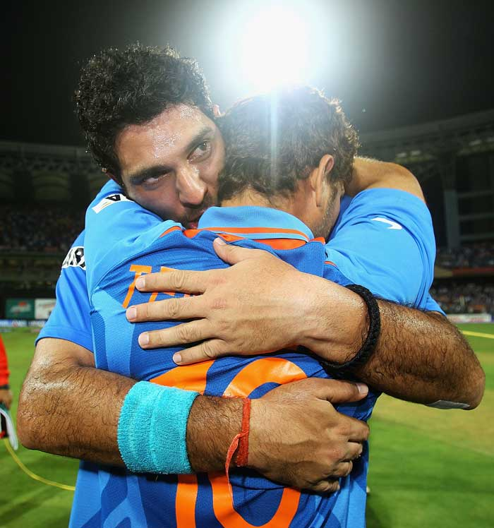 <b>Yuvraj's Special Someone: </b>Not for his girlfriend, said Yuvraj Singh. He went flat out to win the cup for Sachin Tendulkar. (Getty Images)