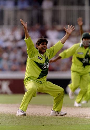 <b>Saqlain Mushtaq vs Zimbabwe in 1999</b><br><br> Pakistan spinner Saqlain Mushtaq claimed second hat-trick of his career against Zimbabwe in the Super Sixes stage of the 1999 World Cup at the Kenington Oval in London. <br><br> Saqlain picked the wickets of Henry Olonga (5), Adam Huckle (0) and Pommie Mbangwa (0) with the first three deliveries of the 41st over. <br><br> Interestingly his first hat-trick also came against Zimbabwe in 1996 in Peshwar. (Getty Images)