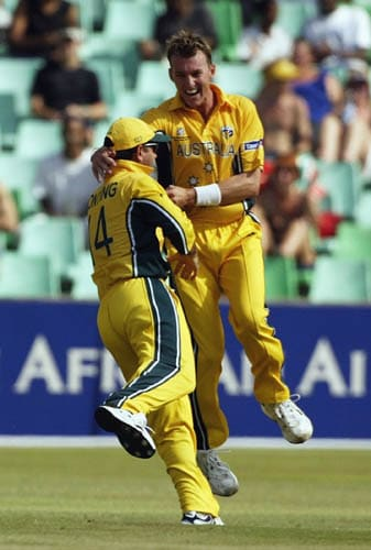<b>Brett Lee vs Kenya in 2003</b><br><br>Australian pacer Brett Lee ran over the Kenyan batting line-up during their Super Sixes match in Durban during the 2003 World Cup. <br><br>He became the first ever Australian to take a hat-trick in a World Cup match, as he dismissed Kennedy Otieno, Brijal Patel and David Obuya with the last three balls of the first over. While he bowled out Otieno and Obuya, Patel was caught by Aussie skipper Ricky Ponting. (Getty Images)