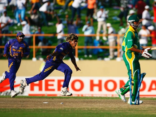 <b>Lasith Malinga vs South Africa in 2007</b><br><br> Slingshot Malinga took his first-ever hat-trick against South Africa during the Super Eights match of the 2007 World Cup in Guyana. <br><br> His victims included Shaun Pollock, Andrew Hall and Makhaya Ntini. He claimed the wicket of Pollock with the last delivery of the 45th over. When he came back to ball in the 47th over, he had Hall caught by Upul Tharanga before he bowled out Ntini. (Getty Images)