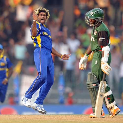 <b>Lasith Malinga vs Kenya in 2011</b><br><br>Spearhead Lasith Malinga took his career's second World Cup hat-trick as part of a six-wicket-haul helping Sri Lanka dismiss Kenya for 142 in their World Cup clash on Tuesday.<br><br>Malinga had Tanmay Mishra lbw with the final ball of the 42nd over and then clean-bowled Peter Ongondo and Shem Ngoche with the first two of the 44th. (AFP Photo)