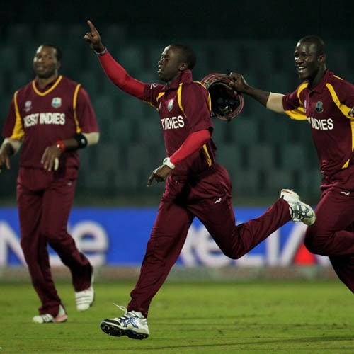 <b>Kemar Roach vs Netherlands in 2011</b><br><br> West Indies seamer Kemar Roach grabbed a hat-trick in his six-wicket haul that crushed the Netherlands by 215 runs in a World Cup Group B match. He picked the wickets of Pieter Seelaar, Bernard Loots and Berend Westdijk. (Getty Images)