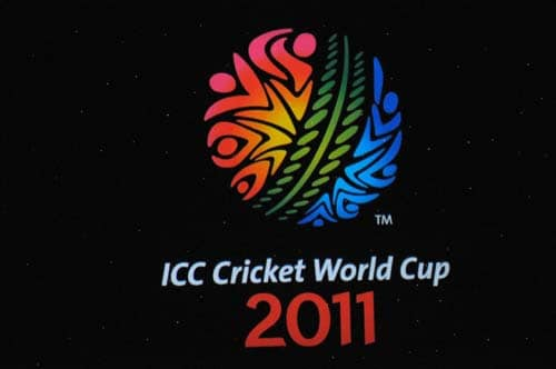 This handout photograph from the International Cricket Council (ICC), shows the logo of the ICC Cricket World Cup 2011 during the unveiling ceremony in Mumbai on July 14, 2009. The 2011 ICC Cricket World Cup is to be hosted by India, Bangladesh and Sri Lanka with fourteen national cricket teams scheduled to compete. (AFP Photo)