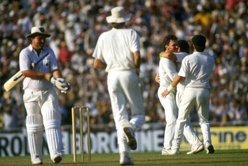 <b>1987 FINAL: The stroke that gave Australia the trophy</b><br><br> Chasing Australia's score of 253, England were coasting at 135/2 with skipper Gatting and Bill Athey at the crease. Gatting who had bowled himself trying to sweep in the semi-final against India decided to reverse sweep the first ball of Australian skipper Allan Border.<br><br> He miscued it and keeper Dyer completed an easy catch. Gatting went for 41 and that led to a slump which cost England the Cup by 7 runs eventually.