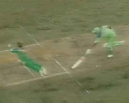<b>1992: Airborne Jonty Rhodes gives new definition to fielding</b><br><br> South Africa were restricted to 211 but a rain intervention and the crazy rain rule had made the target very stiff for Pakistan. Inzamam-ul-Haq was the point man to do the job and he had set about doing it in spectacular fashion.<br><br> When on 48, Inzy ran for a quick leg-bye but was sent back from half-way down the pitch by a hesitant Imran. Suddenly Jonty Rhodes sprang up from a deep backward point position and started charging towards the wicket rather than throwing the ball.<br><br> A few milliseconds later, the Protean dynamite was airborne with both legs in the air, body parallel to the ground and he razed all three stumps. Inzamam was out but that was secondary.<br><br> It was a moment of sheer class...imagination juxtaposed with the spectacular and fielding in an instant had become an art from being just a cricketing chore.