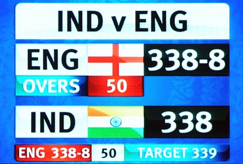 The days of par 300 scores being insurmountable are behind. England proved the theory on Sunday when they almost chased down India's total of 338. A scorching century each for both sides ensured that the bowlers went back with horrendous figures and yet in a match that saw over 600 runs on the scoreboard, that one winning run remained elusive. (AFP Photo)