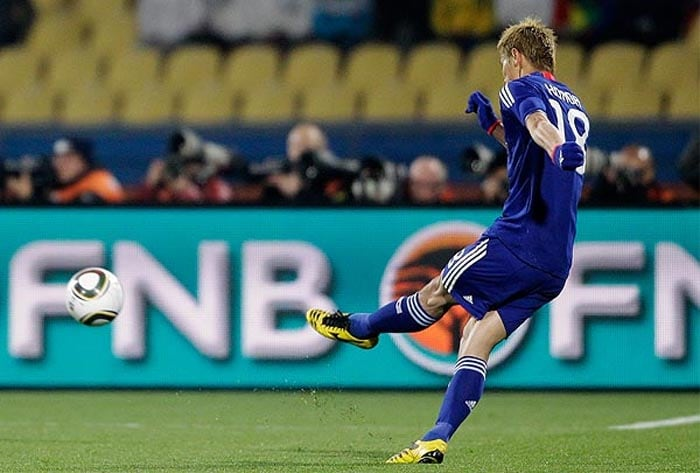 """Japan's Keisuke Honda's opening goal during the World Cup group E soccer match against Denmark was one of the finest free-kicks taken at the 2010 FIFA World Cup. The two sides were pretty evenly matched till this strike from Honda, gave Japan the initiative and they never looked back. <br><br><a href=""""http://ndtv.footballindia.com/2010_worldcup/fan_survey.aspx"""" class=""""fg fn fl fs12"""">Pick your best goal</a>"""