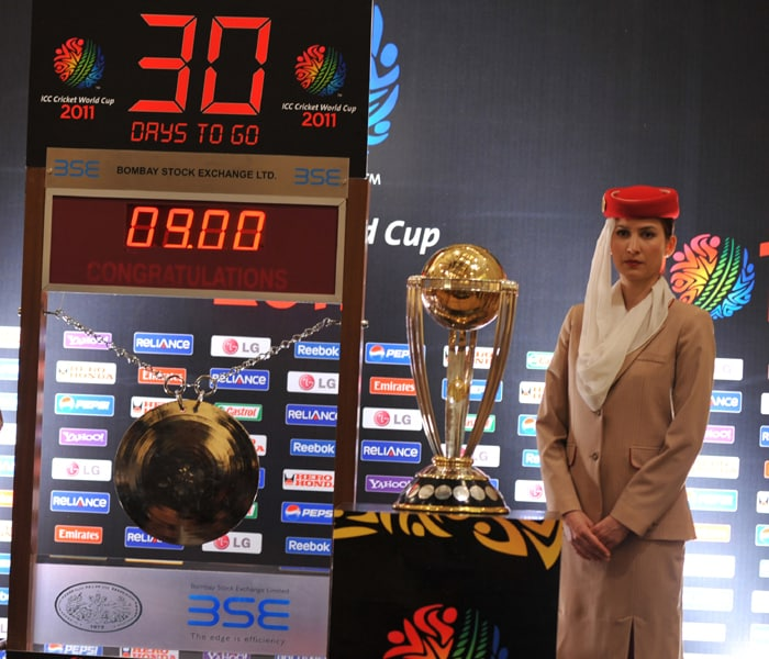 The 2011 ICC Cricket World Cup trophy is seen during a function at the Bombay Stock Exchange in Mumbai. (AFP Photo)