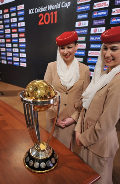 The 2011 ICC Cricket World Cup trophy is seen on display. (AFP Photo)
