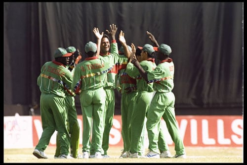 <b>1996: Kenya beat West Indies by 73 runs</b><br><br> Kenya were rank outsiders in the 1996 World Cup. A bunch of amateurs who had secured their place in the tournament through the ICC Trophy organised for the associate members.<br><br> Playing the West Indies at Pune, Kenya could grind out only 166 runs and were ready for yet another drubbing. What happened after that is seen as one of the biggest upsets in cricketing history.<br><br> Rajab Ali and Martin Suji cleaned up the openers and Ali then took the big scalp of Brian Lara. Chanderpaul hung in there for a while but a three-wicket burst from the Kenyan skipper Maurice Odumbe meant that the long West Indian tail was exposed early and Rajab Ali came back to clean bowl Cameron Cuffy to complete a resounding 73-run win for the Africans. West Indies were aghast.