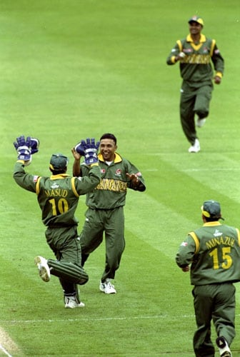 <b>1999: Bangladesh beat Pakistan by 62 runs</b><br><br> It was a dead rubber as Pakistan had already made it to the Super Six while debutantes Bangladesh had been dumped out. But no one really expected an outcome which came as a shock.<br><br> Batting first, Bangladesh managed to score 223 runs even after Saqlain Mushtaq had picked up 5 wickets. Khaled Mahmud with his military medium exploited the English conditions well to rip apart the Pakistan top order. Azhar Mehmood and Wasim Akram tried a repair job but wickets kept falling and Pakistan were scuttled out for 161, handing Bangladesh a shock 62-run win.