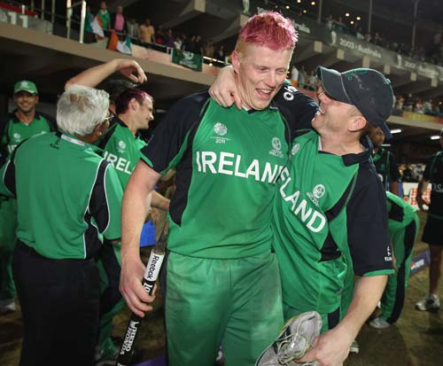 <b>2011: Ireland beat England by 3 wickets</b><br><br>Ireland beat title contenders England by three wickets in Bangalore. England looked to be cruising after accumulating 327 in their innings and reducing Ireland to 111-5 but Kevin O'Brien turned the match on its head with the fastest-ever World Cup century off 50 balls.