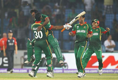 <b>2011: Bangladesh beat England by 2 wickets</b><br><br>After Ireland, it was Bangladesh who pushed England to the wall with a thrilling 2-wicket win in their Group B match in Chittagong.<br><br>Bundling out England for a modest 226 was just the half work done by the Bangla Tigers. They started the chase on a positive note with Imrul Kayes making 60 runs. At one stage they were cruising at 153-3.<br><br>However, their middle collapsed after Kayes' departure and were 169-8 in the 40th over. It was then all left to the ninth-wicket pair of Mohammad Mahmudullah and Shafiul Islam. And they did not disappoint. They had hammered 58 runs to send England crashing to a two-wicket defeat in the World Cup with 6 balls to spare.