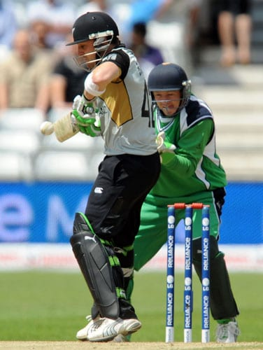 Brendon McCullum plays a shot against Ireland during the ICC World Twenty20 match at Trent Bridge in Nottingham. (AFP Photo)