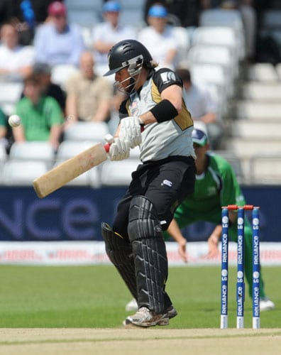 Aaron Redmond plays a shot against Ireland during the ICC World Twenty20 match at Trent Bridge in Nottingham. (AFP Photo)