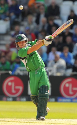 Gary Wilson bats against New Zealand during the ICC World Twenty20 match at Trent Bridge in Nottingham. (AFP Photo)