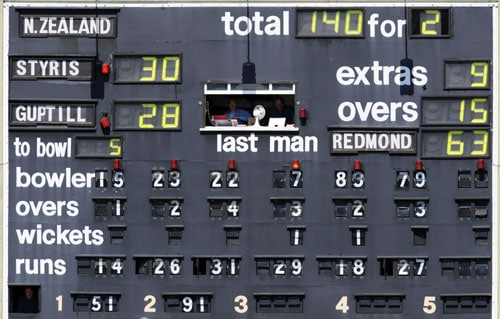 Scorers sit inside the scoreboard as Ireland take on New Zealand during the ICC World Twenty20 match at Trent Bridge in Nottingham. (AFP Photo)