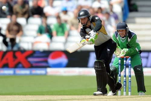 Martin Guptill bats against Ireland during the ICC World Twenty20 match at Trent Bridge in Nottingham. (AFP Photo)