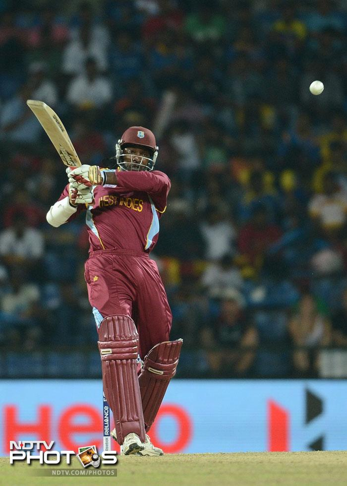 Chris Gayle picked up from where he had left off against Australia as he smashed his second fifty of the tournament. His 58 from 35 balls contained 6 fours and 4 sixes in an opening stand of 103 in just 11 overs.