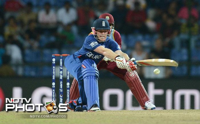 Eoin Morgan came win and stepped up a gear from the word go. While he was there England still had a chance and the West Indies could never relax despite having runs in the bank. Morgan made an unbeaten 71 from 36 balls hitting 4 fours and 5 sixes.