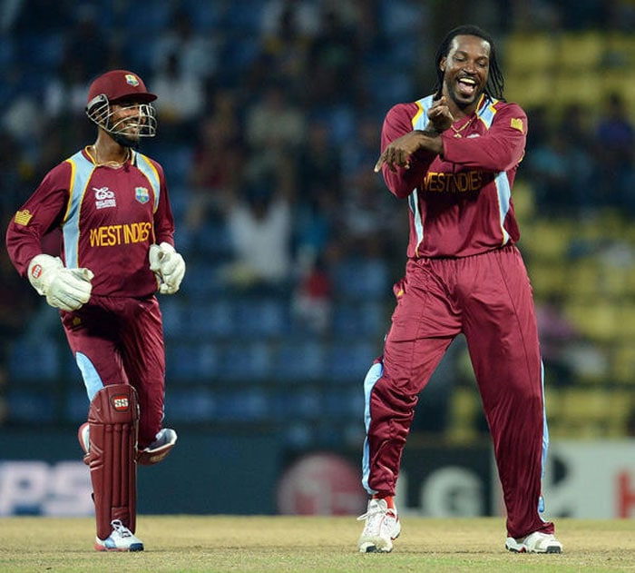 Gayle in one of his 'Gangnam' style celebrations on the field which has become a popular sight in the World T20.
