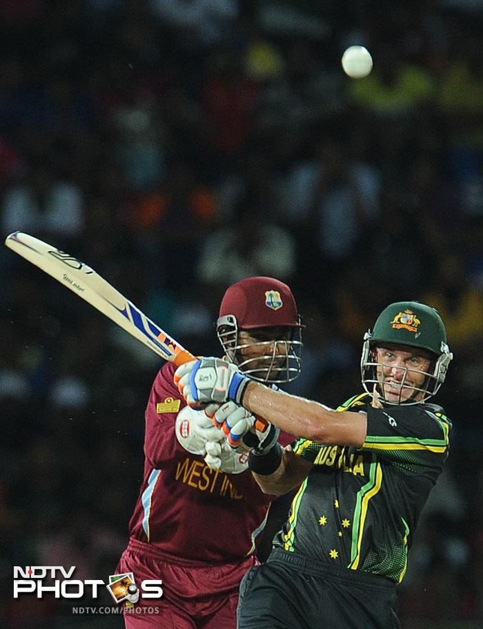 Michael Hussey once again showed that age is just a number as he scored a fast 28 off 19 balls in a 70 run partnership for the second wicket with Watson to take Australia to 100/1 in 9.1 overs at which point they were threatening to make light work of West Indies' total.