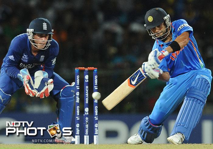 Virat Kohli was stroking the ball fluently and looked set for a big score. His 40 runs of 33 balls gave India the boost they needed and while he was at the crease the English bowlers had their work cut out.
