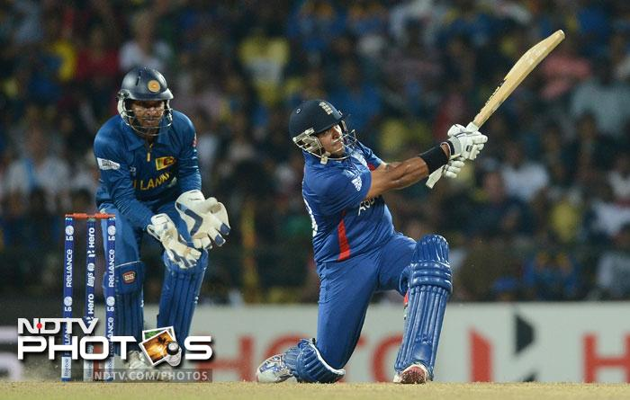 Samit Patel was the sole thorn in Sri Lanka's side as he hit 67 from 48 balls with 8 fours and 2 sixes to give England an outside chance of qualifying. Graeme Swann hit 34 from 20 as the pair added 51 runs for the eighth wicket.