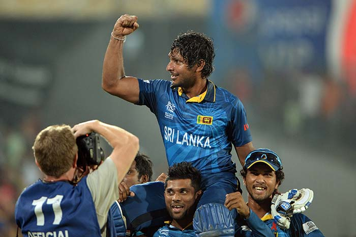 The elated Sri Lankan players paid their tributes to the two retiring greats as they carried them around the ground on their shoulders.