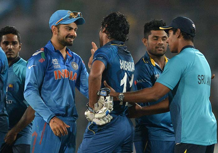Virat Kohli was also quick to have a word and congratulate Sangakkara on his achievements after the game.