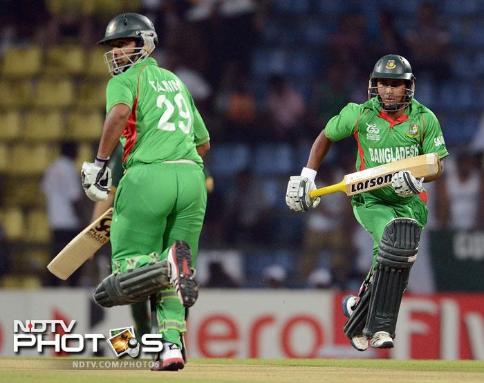 Batting first, Tamim Iqbal got Bangladesh off to a blazing start as he smashed 24 from 12 balls before a bad mix-up cost him his wicket.