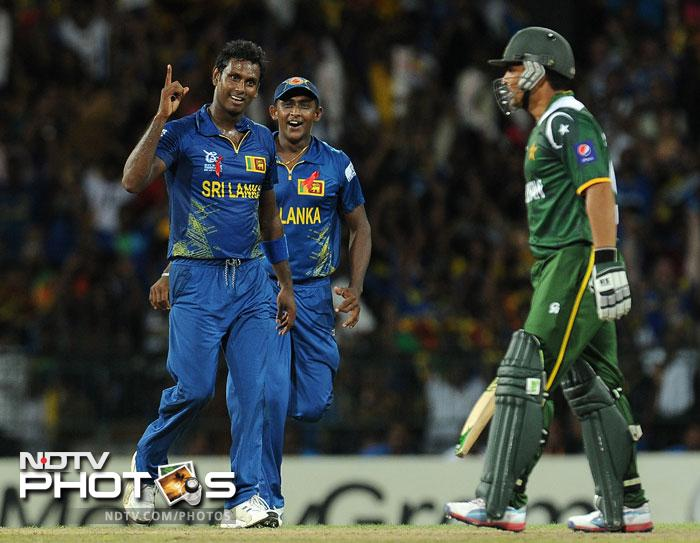 Angelo Mathews failed with the bat but made up with the ball snaring Nasir Jamshed and Kamran Akmal which were severe blows to Pakistan's scheme of things.