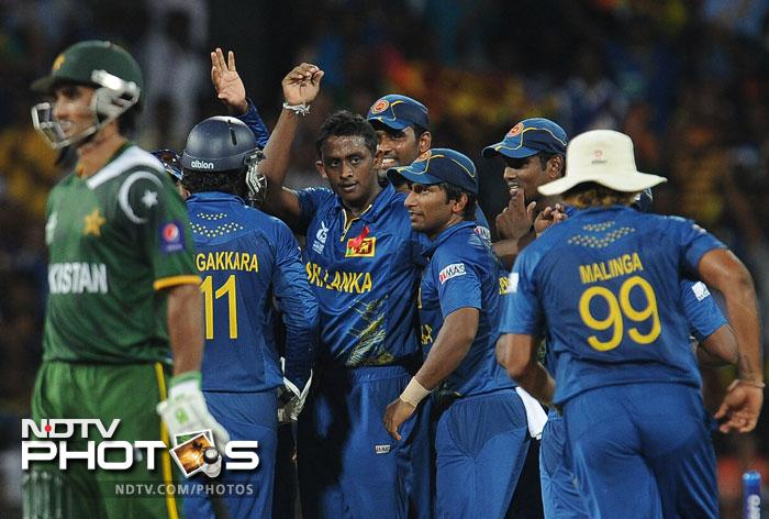 But Sri Lanka once in the driver's seat, were in no mood to ease up and maintained their stranglehold to emerge victors by 16 runs. They now await either Australia or West Indies in the final on Sunday while Pakistan go home from a campaign that promised much but flattered to deceive.