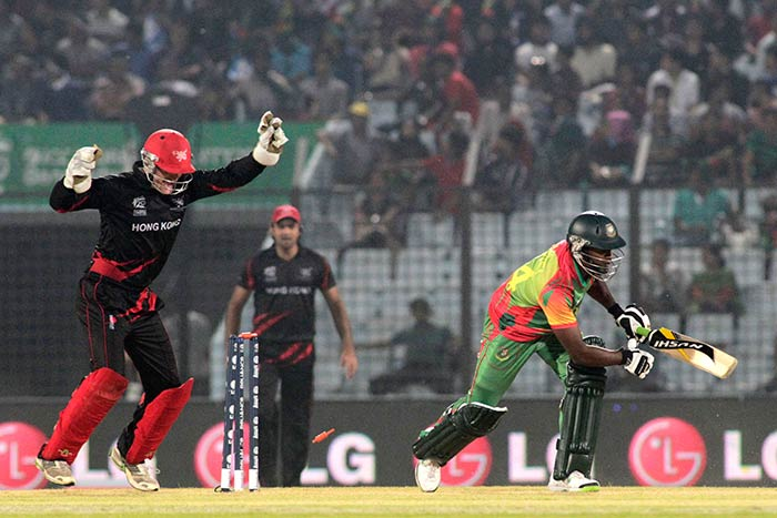 A spirited performance from Hong Kong in the field saw Bangladesh bowled out for 108. (All images AP and AFP)