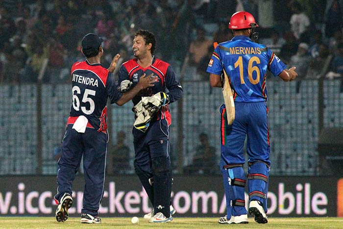 Nepal's Jitendra Mukhiya recorded figures of 3/18 in his quota of 4 overs.