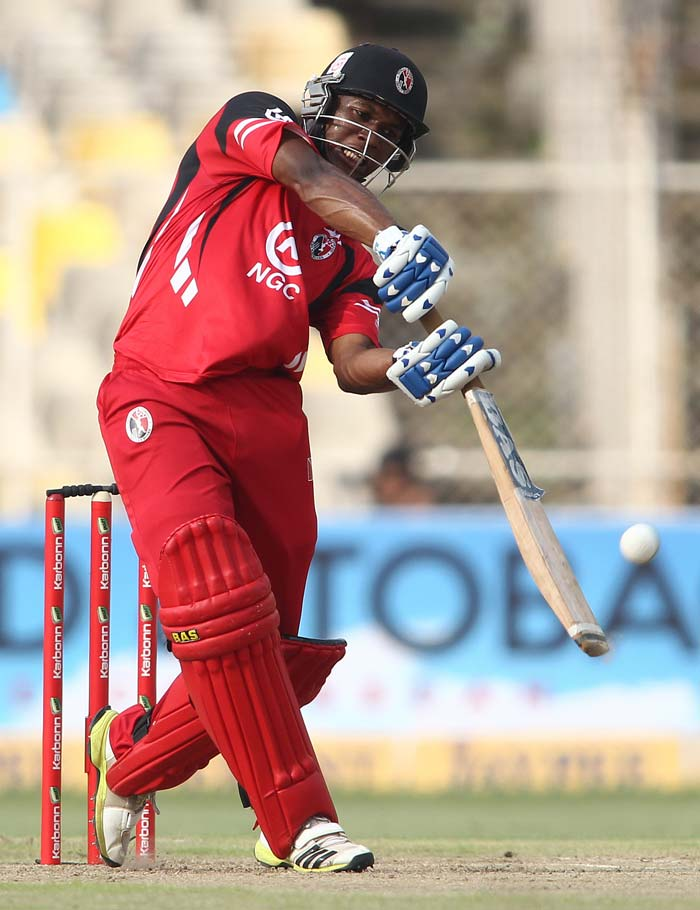 Rain played spoilsport in an exciting clash between Trinidad & Tobago and Titans in Ahmedabad. Titans needed 36 from 18 with AB de Villiers still at the crease but rain prevented further play. (BCCI Photos)