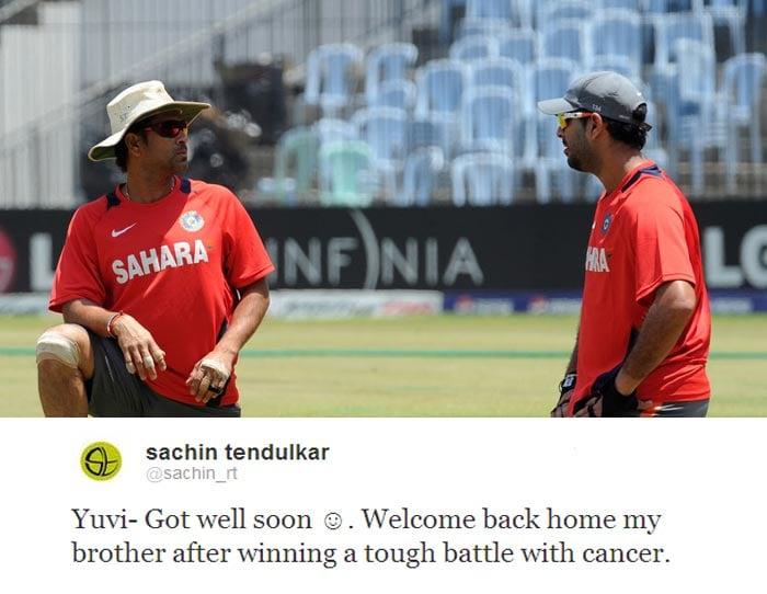 <b>Sachin Tendulkar:</b> Yuvi- Got well soon. Welcome back home my brother after winning a tough battle with cancer.