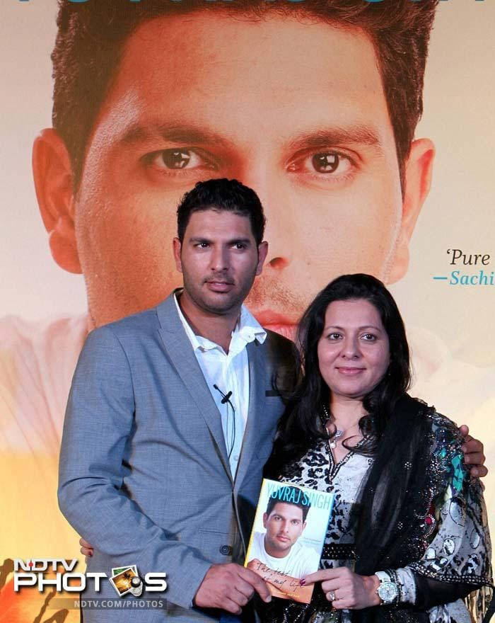 Alongside his teammates, family and friends, Yuvraj Singh launched 'The Test of my Life,' a book detailing his struggles in fighting a rare form of cancer.