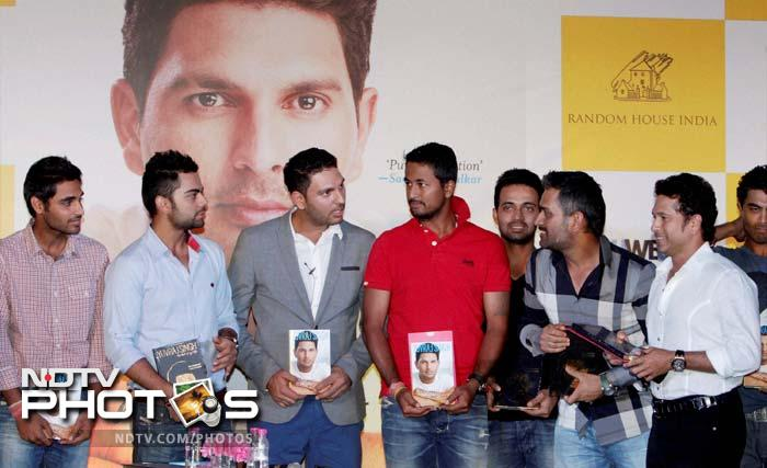 In the gardens of one of the glitziest hotels in New Delhi, India's famous cricketers were gathered in support of one of their own, Yuvraj Singh.