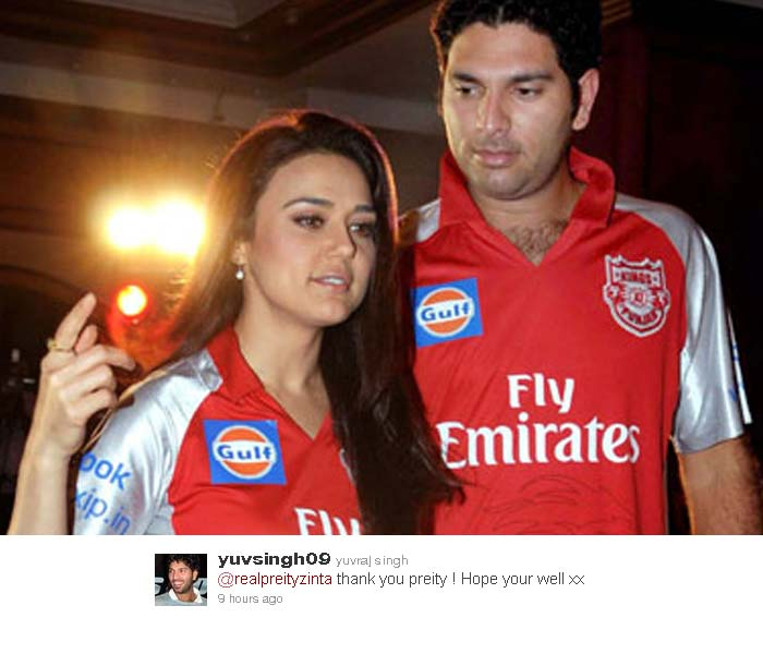 Preity Zinta, the co-owner of the Yuvraj's former IPL side, Kings XI Punjab also wished the Southpaw a speedy recovery.