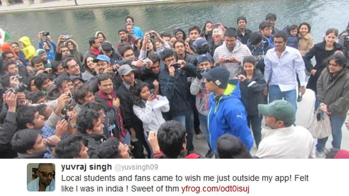 Yuvraj had also got a surprise visit from students and fans outside his apartment. The south-paw expressed his feelings on twitter after meeting the reasonably large group.