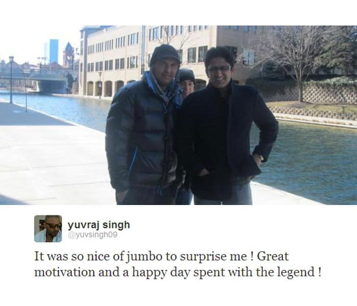 "Yuvraj Singh got a pleasant surprise when former India captain and leg-spin legend Anil Kumble went to meet him.<br><br>Yuvraj, who is away from the cricket field but very much active on Twitter, posted a pic and said: ""It was so nice of jumbo to surprise me ! Great motivation and a happy day spent with the legend!"""