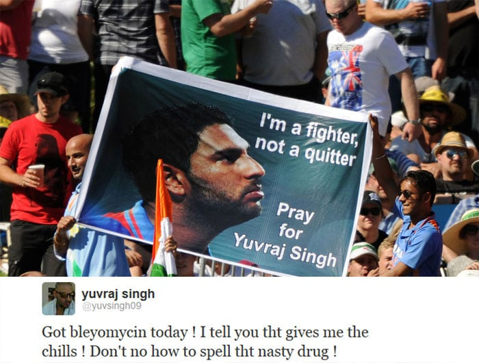 Yuvraj Singh, who has been sidelined due to lung cancer, has continued to use social networking site Twitter as a medium to stay connected to his fans.