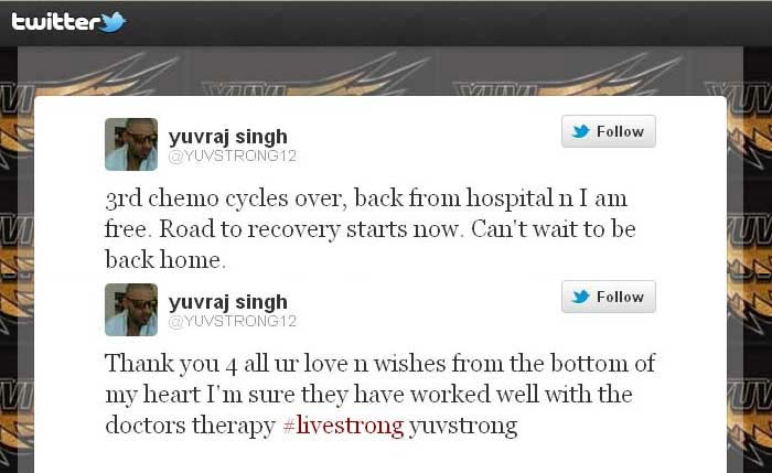 'I am free', tweeted cricketer Yuvraj Singh after he was discharged from hospital after completing the third and final cycle of chemotherapy he has been undergoing to recover from a rare germ cell cancer in Boston, USA.