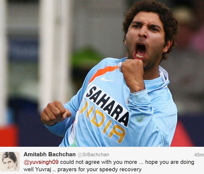 "Mr Bachchan replied: @yuvsingh09 could not agree with you more ... hope you are doing well Yuvraj .. prayers for your speedy recovery.<br><br> Yuvi thanked him for his wishes and said: ""and one of the biggest examples is you mr bachchan ! Thank you very much I'm better each day."""