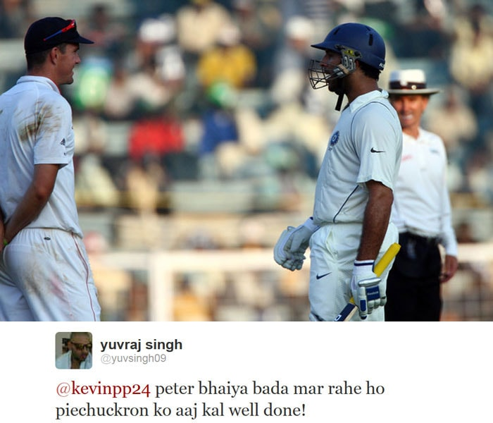 Yuvraj Singh may be out of action from the field but he always seems to have a couple of tricks up his sleeve. The south-paw teased his competitor-turned-buddy Kevin Pietersen on Twitter after the latter's match-winning knock against Pakistan.