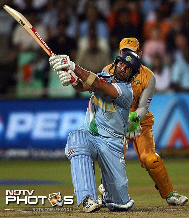 <b>70 vs Australia in World T20 semi-final:</b> In the 2007 World T20 semi-final between India and Australia, Yuvraj was at his murderous best. He scored 70 runs in 30 balls at an average of 233.33. He took his side's score to 188 runs, which proved to be too much for the Aussies who managed to score 173. As a result they packed their bags and paved the way to the final for India.