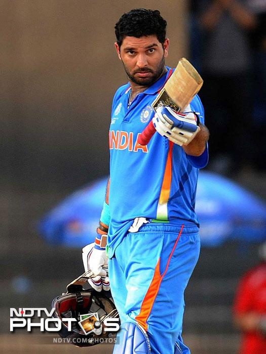 <b>113 vs West Indies in ICC World Cup 2011:</b> Yuvraj Singh came into the World Cup after a lean phase. As always he had saved his best for the biggest stage and emerged as the Man of the Tournament. He had scored 362 runs at a staggering average of 90.50 in 9 matches. His only century came against the West Indies in the 42nd match of the tournament. He made 113 runs to take his side to 268 runs. In reply, the Windies were done in for 188 runs.