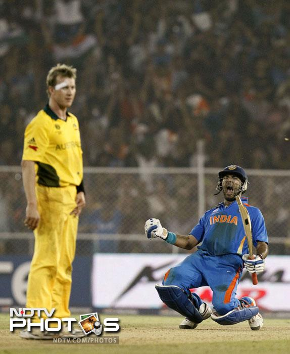 <b>57 vs Australia in World Cup:</b> It was the quarter-final match between India and the defending champions. Electing to bat, Australia had scored 260 runs in Ahmedabad. After Sachin Tendulkar and Gautam Gambhir slammed half-centuries, the finishing task was left to Yuvraj. The flamboyant batsman slammed an unbeaten 57 runs to send them packing. The loss put an end to Australia's reign as the world champions and ensured India a berth in the semi-final.