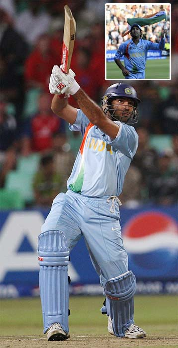 <b>Tryst with Twenty20:</b> Perhaps it is the format best suited to Yuvraj's batting style. Boasting of a staggering strike rate of over 158 in the shortest format, Yuvraj took world by storm when he hit six sixes in the 2007 T20 World Cup. Instigated by Andrew Flintoff in a verbal war, Yuvraj went berserk in the following over of Stuart Broad and made a record of sending all six deliveries in the crowd.<br><br>His T20 exploits gave him the status of an icon player along side the likes of Sachin Tendulkar, Ganguly, Dravid etc in the inaugural edition of the IPL.<br><br>Leading Preity Zinta-owned Kings XI Punjab in the two season, Yuvraj made headlines for getting <i>Jadoo ki Jhappis</i> from his pretty Bollywood boss. However, if recent reports are to be believed, Yuvraj has been dethroned for the third season of the T20 extravaganza.<br><br><a href='http://cricket.ndtv.com/cricket/ndtvcricket/readforum.aspx?trdid=2775'>Wish Yuvraj on his 28th birthday</a>